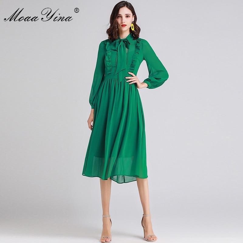 MoaaYina projektant mody pas startowy sukienka wiosna lato sukienka dla kobiet łuk kołnierz Ruffles z długim rękawem Slim eleganckie sukienki w Suknie od Odzież damska na  Grupa 1