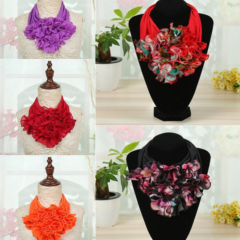 Women Fashion Chiffon Floral Print Dance Circle Collar Neck Warmer Ring Multi   Scarves     Wraps