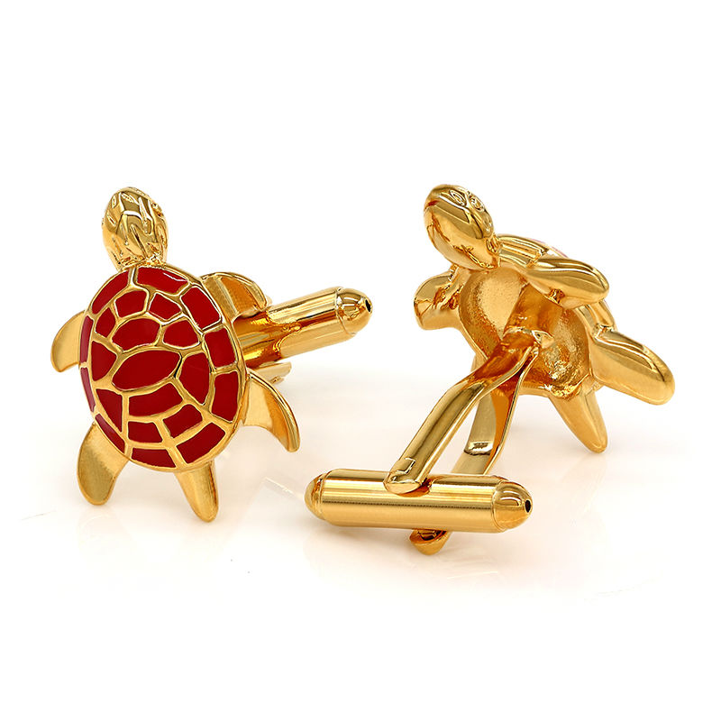 Gold-Tone Men/'s Cuff Links Red Turtle Design Mens Cufflinks