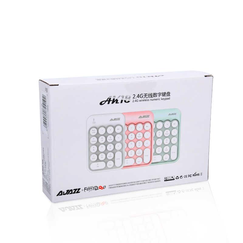 Ajazz AK18 2.4 جرام اللاسلكية الرقمية لوحة المفاتيح USB عدد لوحة رقمية صغيرة 18-مفتاح المحمولة لأجهزة الكمبيوتر المحمول دفتر
