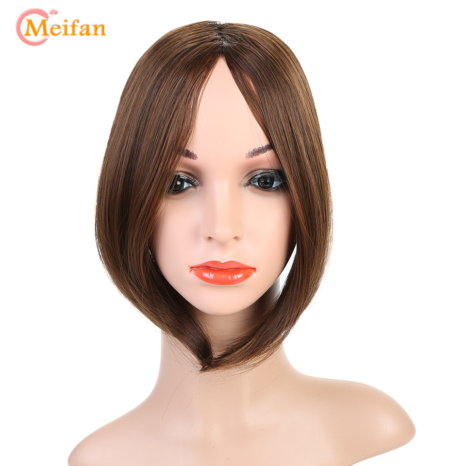 MEIFAN Long Bangs Clip In On Front Hair Bang Two Side Fringe Hair Extension Natural Heat Resistant Synthetic Bangs Hair Piece