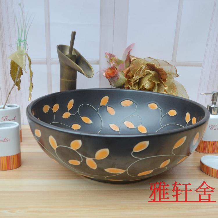 Art basin wash ceramic bathroom counter matt black