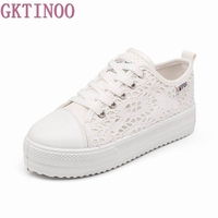 2015 New Cutouts Lace Canvas Shoes Hollow Floral Print Breathable Platform Women Sneakers Shoes Woman 3colors
