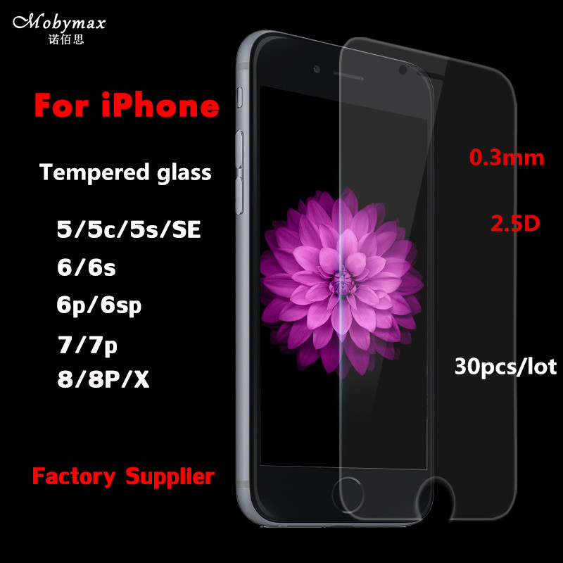 30pcs/lot 0.3mm 9H Premium Tempered Glass for iphone 8 7 6 6s Plus 5 5s SE Screen Protec ...