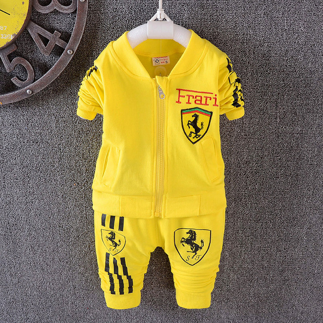 2016 Boys and girls Suits jacket + pants 2pcs cartoon cardigan zipper baby clothes fashion suit kids costumes for kids jomake