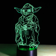 3d Led Night Light Lamp Star Wars Master Yoda Touch Sensor Color Changing Room Office Decoration Birthday Gift Cool