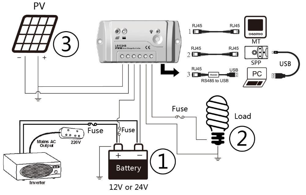 epsolar programmable solar charge controller 30a 12  24v