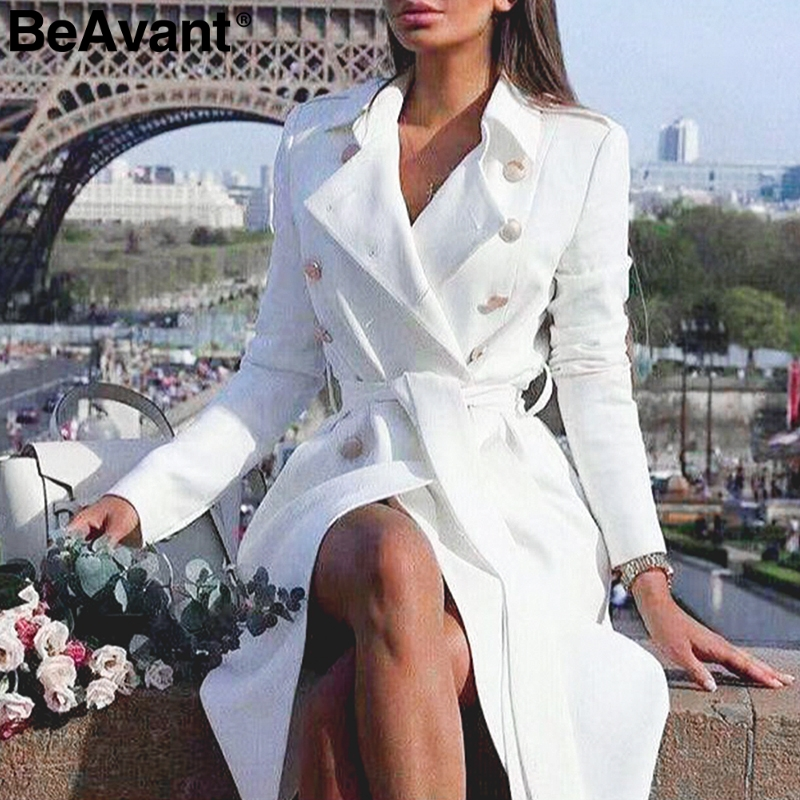 BeAvant Office ladies double breasted white   trench   coat Sashes slim long   trench   female Vintage winter   trench   dress for women