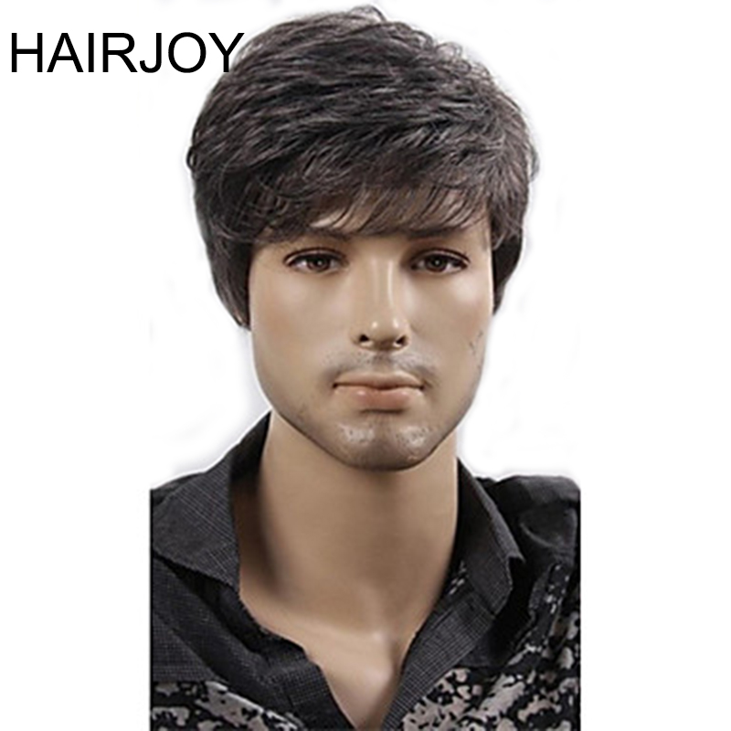 Hairjoy Women Men Synthetic Wig Short Curly Layered Haircut Brown