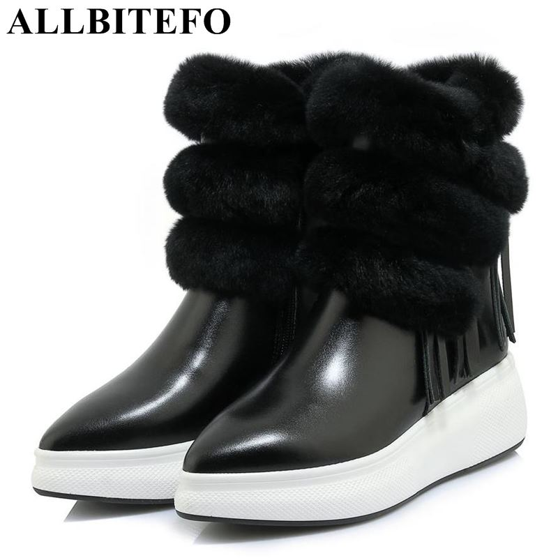 цена на ALLBITEFO new winter genuine leather wedges heel platform women boots tassel natual wool warm ankle boots high heels ankle boots