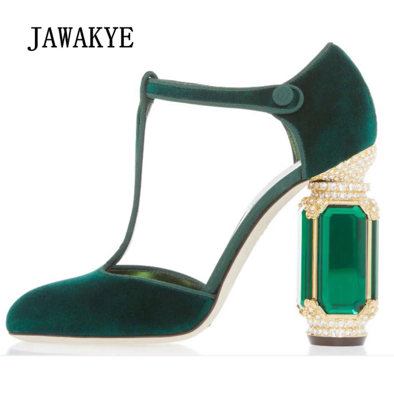 2019 Luxury Velvet Crystal High Heel Sandals Woman Round Toe Rhinestone Diamond Green Purple Black Red