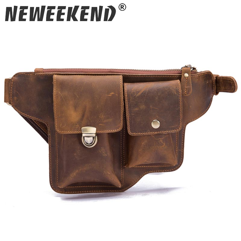 Men's Crazy Horse Genuine Leather Messenger Shoulder Bag Travel Motorcycle Riding Fanny Pack Waist Thigh Drop Leg Bag 2068