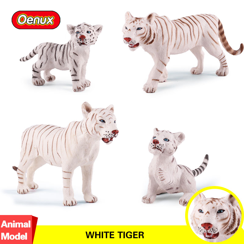 Oenux 4PCS/<font><b>Set</b></font> Wild <font><b>Animals</b></font> White <font><b>Tigers</b></font> <font><b>Model</b></font> <font><b>Action</b></font> <font><b>Figures</b></font> Simulation <font><b>Tiger</b></font> <font><b>Model</b></font> Collection <font><b>Toy</b></font> For Kids Birthday Gift