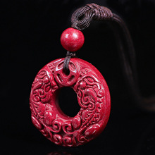Drop Shipping Natural Cinnabar Safety Button Brave Troops Pendant Necklace Amulet Jade PingAnKou Necklace For Woman Men drop shipping natural cinnabar pendant lucky amulet jade safety button brave troops necklace for woman men fine jewelry gifts