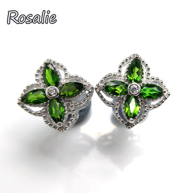 Fine Jewelry Genuine Green Chrome Diopside Sterling Silver 8mm Stud Earrings