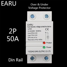 1 pc 50A 220V Din Rail Self Recovery Automatic Reconnect Over & Under Voltage Protector Lightening Protection Protective Relay