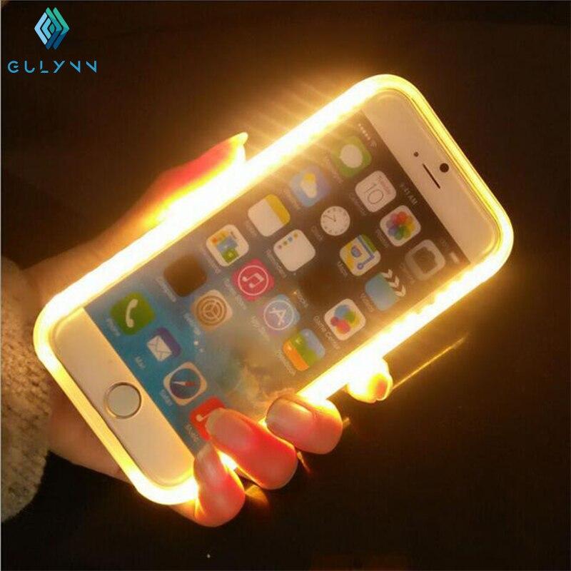 bilder für 2017 gulyn mode led-licht selfie case für iphone 5 s 6s 6 plus-beleuchtet handy rückseitige abdeckung für iphone 7 7 s 7 plus