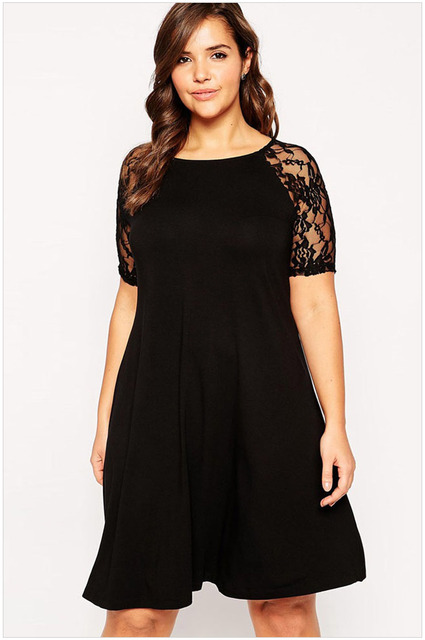 women plus size dresses 2xl Black Lace loose dresses for autumn ...