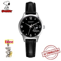snoopy black kids watch fashion boys watches casual Quartz Wristwatches girs watches cute Japan movement pu clock gift snw809