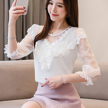 Ruffle O-Neck Flower floral Chiffon 2019 Summer Women Tops New Lace Half Sleeve White Blouse Shirt Sexy Fashion 682i3