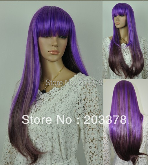 2013 New Long Straight  Purple and brown mixed cosplay hair Wigs10pcs/lot mix order