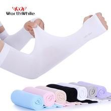 WorthWhile Ice Fabric Arm Sleeves UV Protection Mangas Warmers Summer Sports Running Cycling Driving Reflective Sunscreen