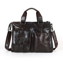 """Nesitu Vintage Genuine Leather Men Messenger Bags Men Leather Shoulder Bag 14"""" Laptop Man Briefcase Portfolio Male Bag #M260"""