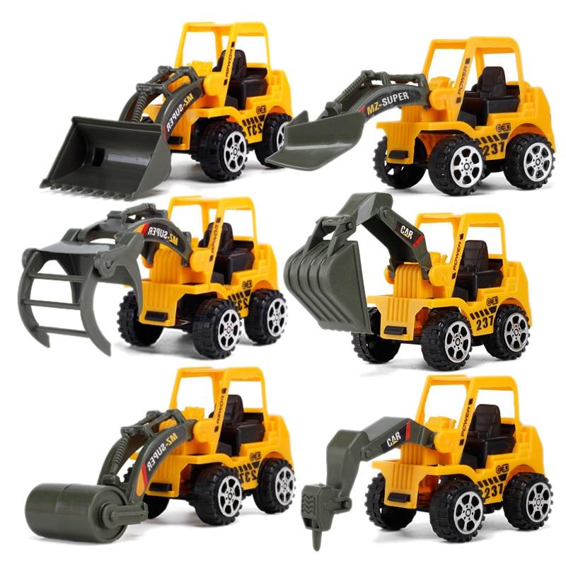 Oyuncaklar ve Hobi Ürünleri'ten RC Arabalar'de 6 stilleri Mini Diecast plastik inşaat araç mühendislik araçları ekskavatör Model oyuncaklar çocuklar için erkek hediye title=