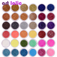 40 Pcs Set Mix Assorted Colors Nail Art Fine Glitter Powder Dust UV Gel Polish Acrylic