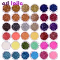 40 unids/set uñas colores de mezcla de arte de uñas polvo brillante fino polvo UV Gel esmalte de uñas de acrílico consejos de decoración DIY herramientas