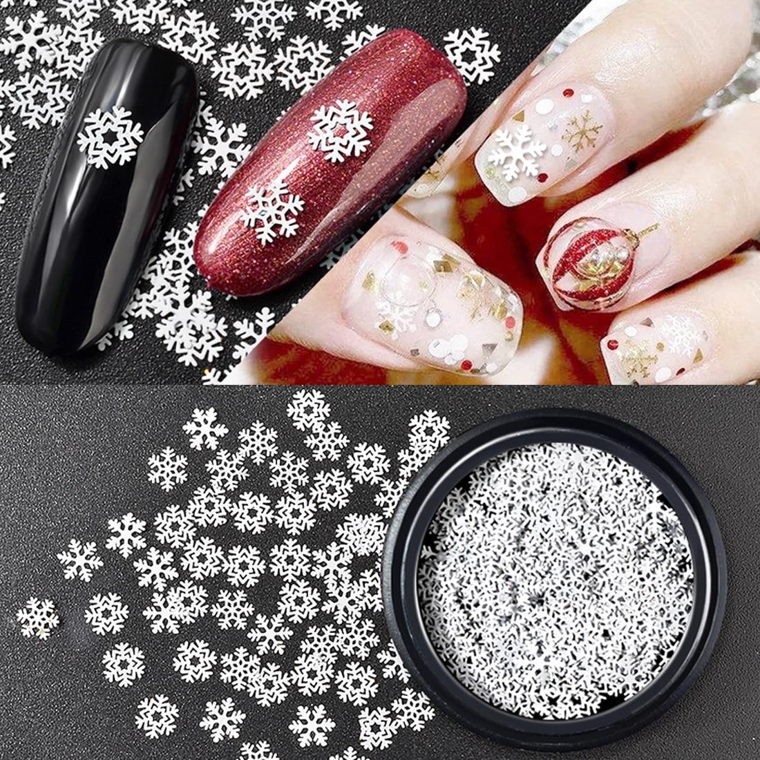 2019 Mode Mix Szie 3 Muster Nail Art Dekoration 1 Box 1,5g Weihnachten Metall Schneeflocke Nagel Pailletten Winter Weihnachten Paillette Weiß Flake Nails Art & Werkzeuge