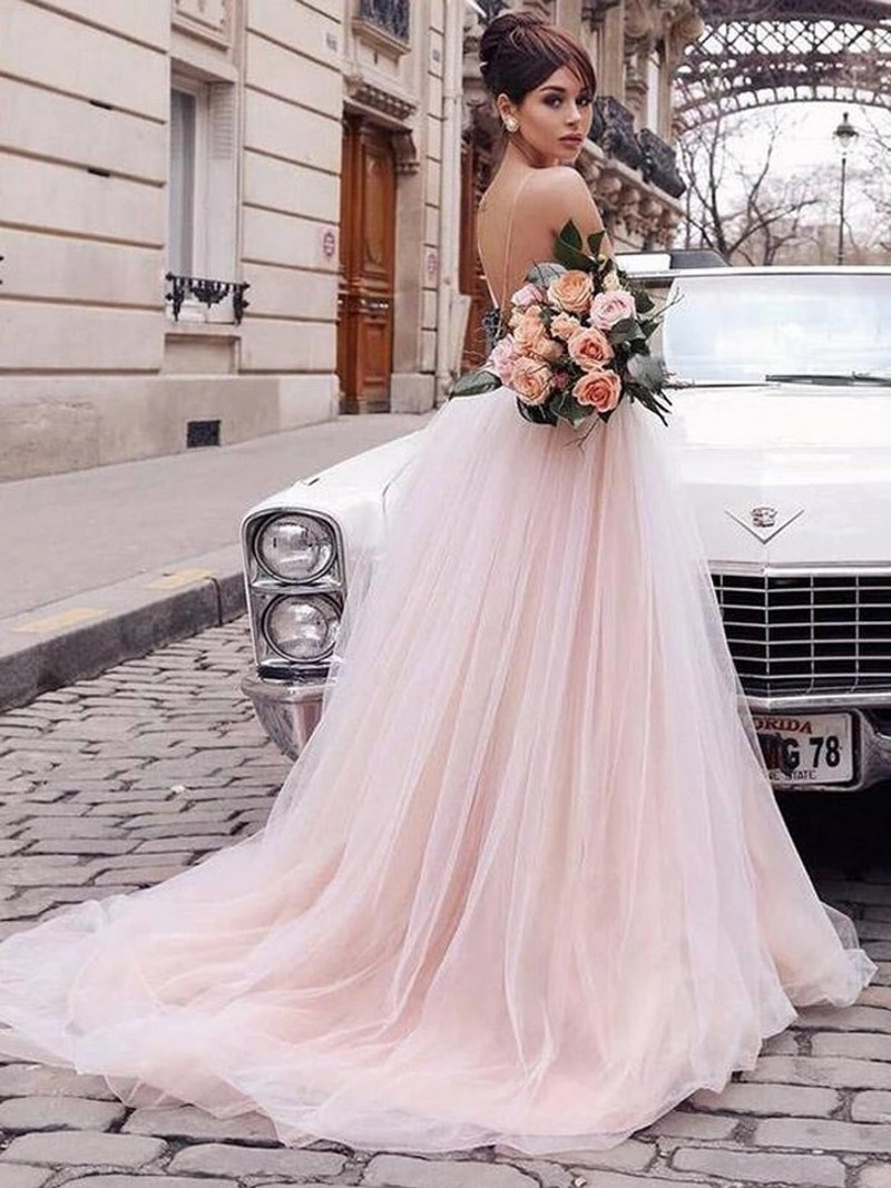 Hand Made Flower V-Neck Spaghetti Straps Floor Length Soft Tulle   Prom     Dresses   Court Train Party Gowns For   Prom