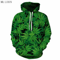 New Hipster Men Women 3D Print Hip Hop Hoodies Green Maple Leaves Sweatshirts with Hat Boy Fashion Jacket Male Coat Tops