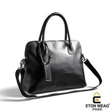 ETONWEAG New 2017 women famous brands Italian leather black business style shoulder bags laptop bag zipper luxury handbags