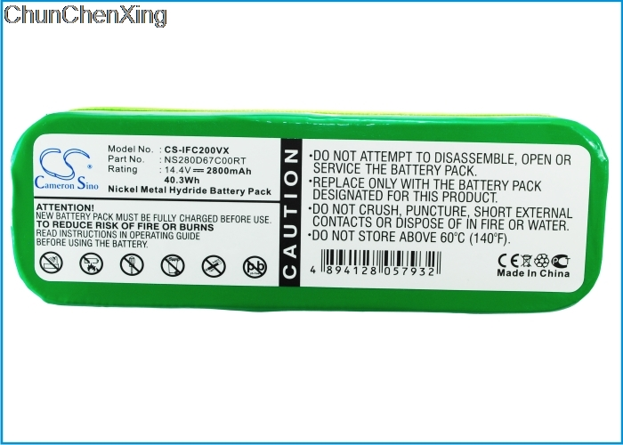 BATTERIA per Infinuvo Cleanmate ns280d67c00rt qq-2 VERDE Cleanmate qq1 Cleanmate