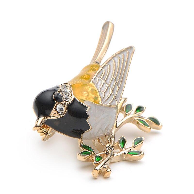 Rhinestone Emajl Oriole Ptice Broševi Muškarci Žene Legura Ptica - Modni nakit - Foto 3