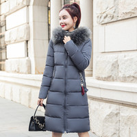 fashion new winter jacket women's hooded jacket fur collar thick section warm long section winter women's jacket 2018