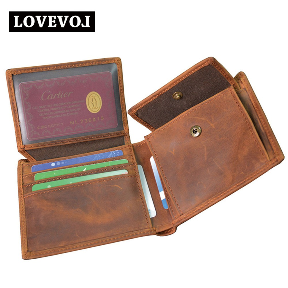 Crazy Horse Leather Men Wallets Vintage Card Holder Brown Genuine Leather Short Design Male Purse Coin Pocket Men's Wallet 007a men wallet male cowhide genuine leather purse money clutch card holder coin short crazy horse photo fashion 2017 male wallets