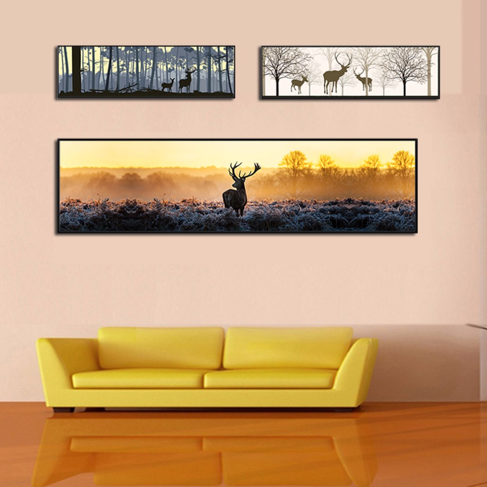HD Printed Canvas Painting Deer Forest Picture Canvas Art Poster Print Wall Pictures for Living Room Office Wall Decor