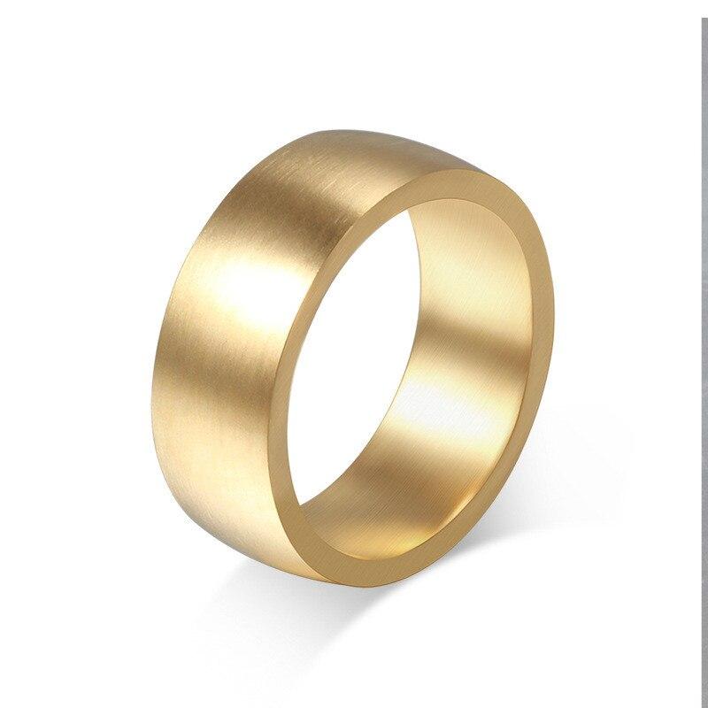 Для мужчин кольцо 8 мм Титан Сталь кольцо Роскошные Высокое качество тянуть песок позолота Цвет простой Для мужчин ювелирные изделия