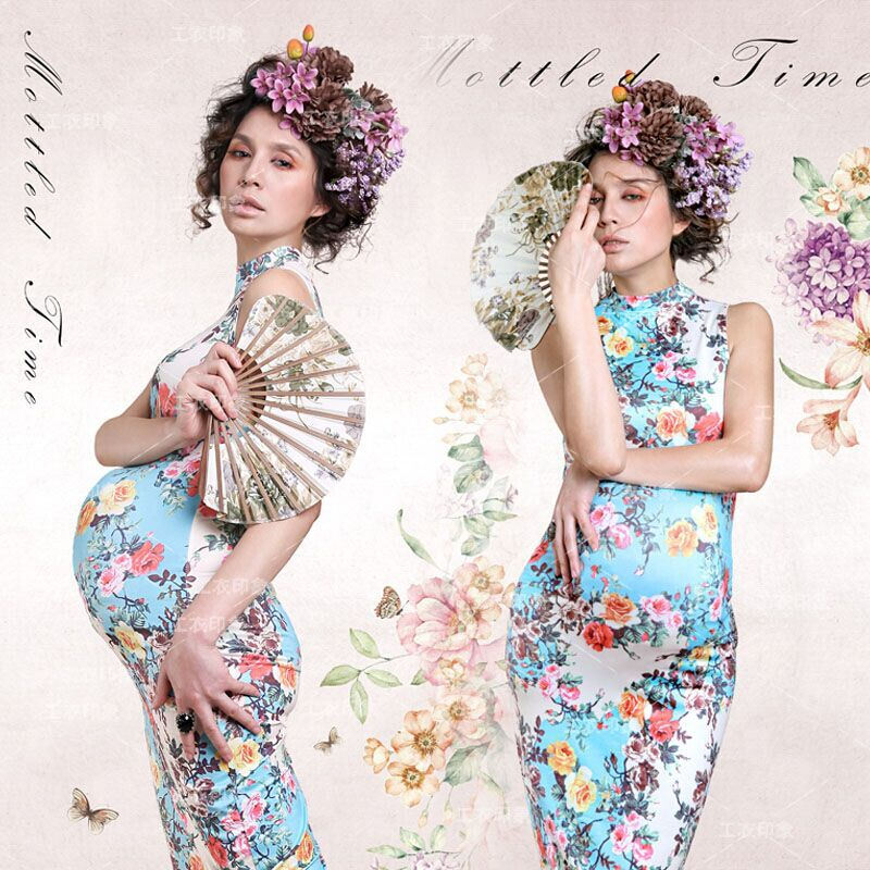цены New Maternity clothing for pregnant women Photography Props Fashion Chinese Cheongsam Flower Dress Pregnancy set Photo shoot