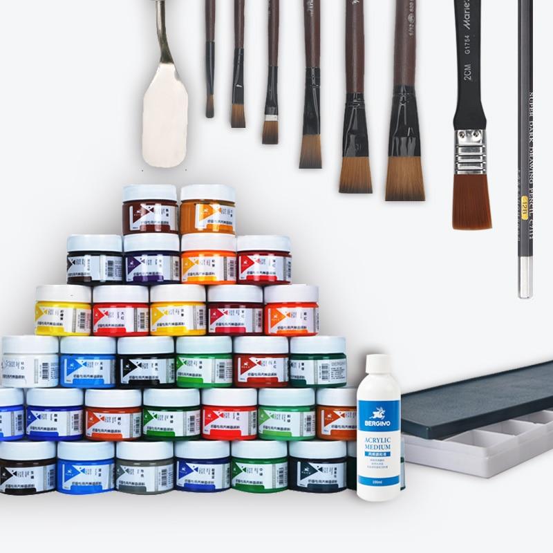 100 ml acrylique en bouteille 7/12/18/24/32 couleur art peinture ensemble, acrylique moyen + 6 pc pinceau + palette + spatule