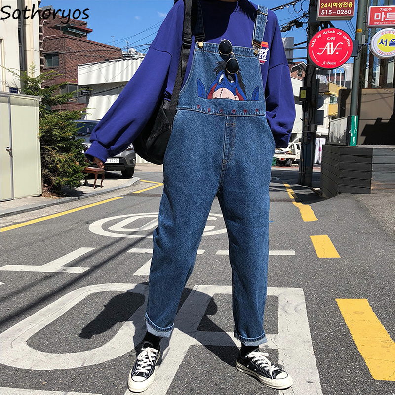 Jumpsuits   Women Embroidery High Waist Big Pockets Leisure Autumn Playsuits Womens Korean Style Retro High Quality Chic Bodysuits