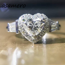 LASAMERO GIA Certificate 1.20CTW Heart Cut Natural Real Diamond Ring Halo Accents 18k Gold Engagement Wedding Promise Stack Ring