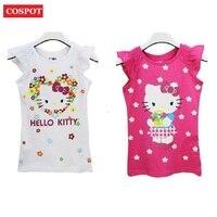 COSPOT Baby Girls Hello Kitty Short Sleeve Tshirt Gilr's Summer T-shirt Children's Cotton T shirt 2017 New Fashion Arrival 10D