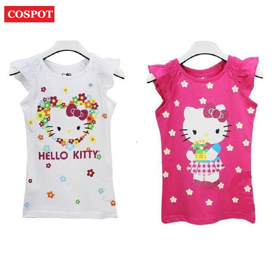 COSPOT Baby Girls Hello Kitty Short Sleeve Tshirt Gilr's Summer T-shirt Children's Cotton T shirt 2017 New Fashion Arrival 10D