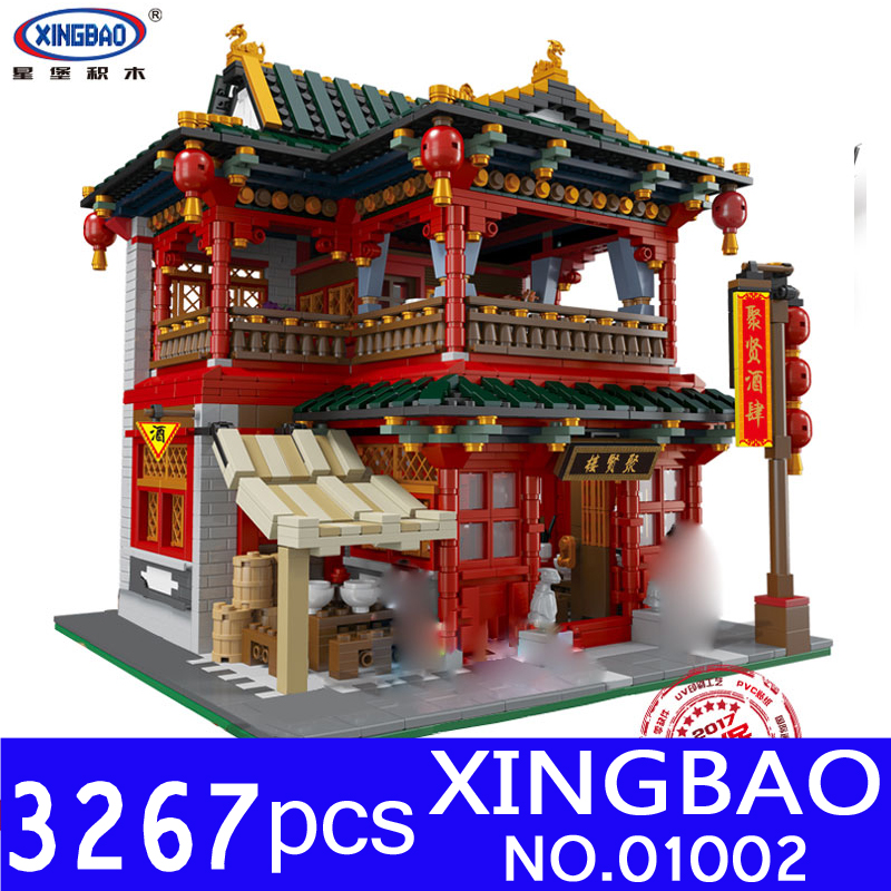 Xingbao 01002 3267Pcs MOC Creative Series The Beautiful Tavern Set Educational Building Blocks Bricks Children Toys Model Gifts in stock new xingbao 01101 the creative moc chinese architecture series children educational building blocks bricks toys model