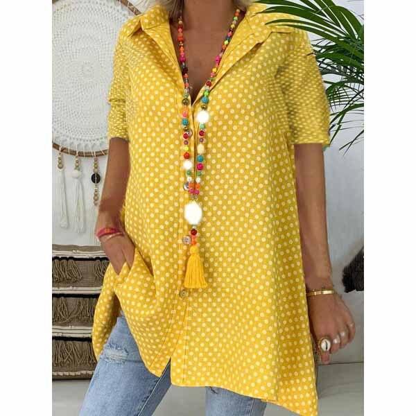 5Xl Summer Women Plus Size   Blouse   Loose Casual Button Beach   Blouse   Polka Dot V Neck Short Sleeve Dot Print Tops