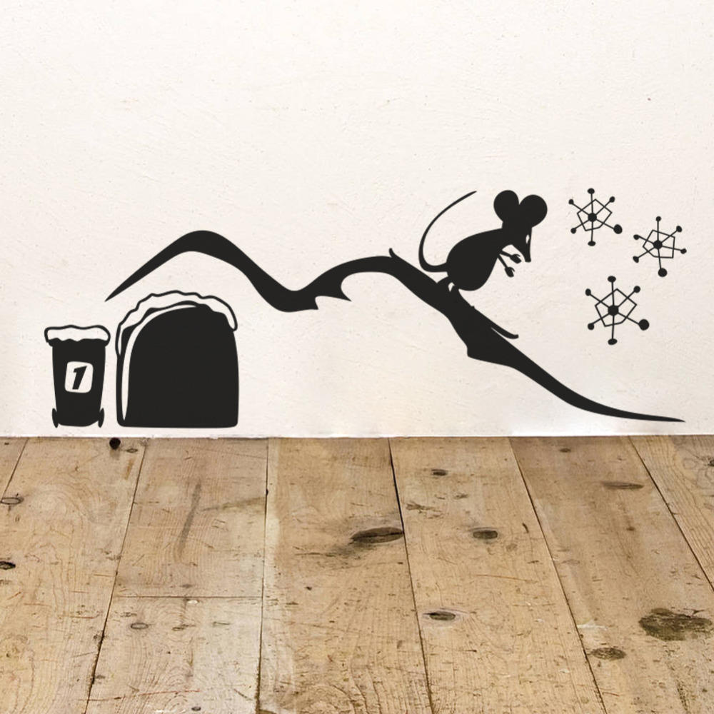 skating mouse hole wall sticker boys rooms decals kids room mural children christmas decoration