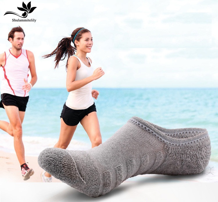 10 Pairs/lot Men's Invisible Towel Style Cotton Socks Stripe Boat Anti Sliphigh Qualtiy 2018 New Big Plus Size
